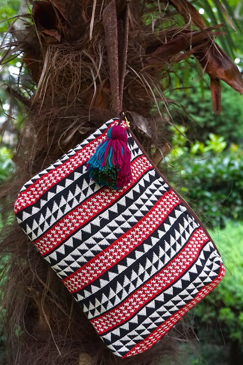Tiebele Tribal Cotton Clutch Bag with Tassel and Leather Strap