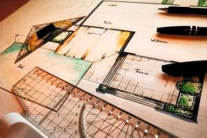 Gartenplan handgezeichnet mit Lineal und Stiften