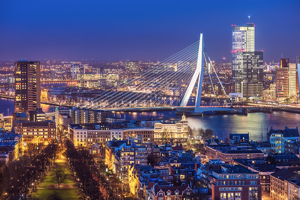 Rotterdam skyline with Erasmus bridge at