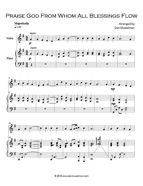 Praise God From Whom All Blessings Flow Piano and Violin Sheet Music