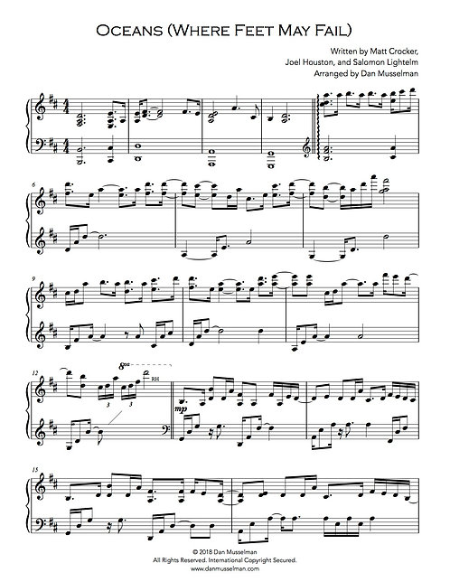 Oceans Where Feet May Fail Sheet Music