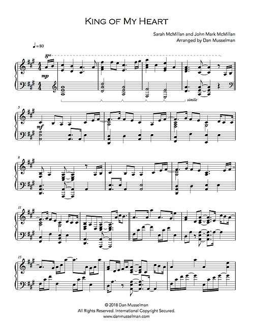 King of My Heart Sheet Music