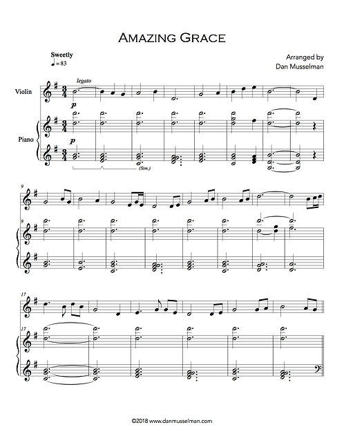 Amazing Grace Piano and Violin Sheet Music