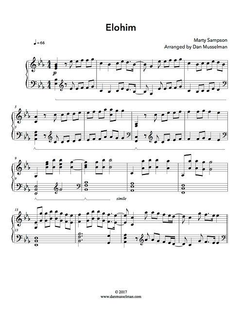 Elohim Hillsong Sheet Music