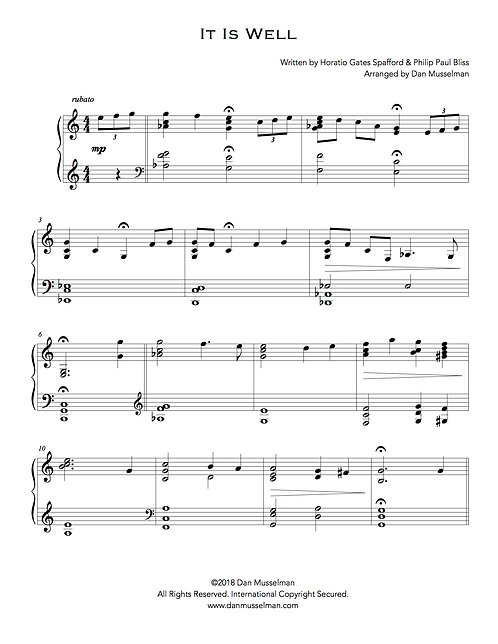 It Is Well Hymn Sheet Music