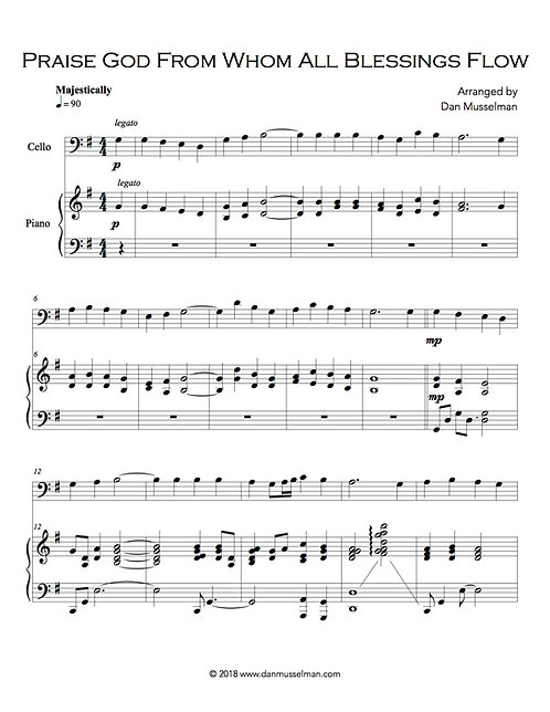 Praise God From Whom All Blessings Flow piano and cello sheet music