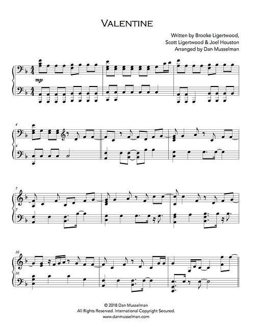 Valentine Hillsong Sheet Music