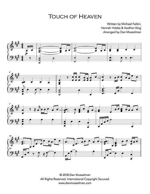 Touch of Heaven Sheet Music