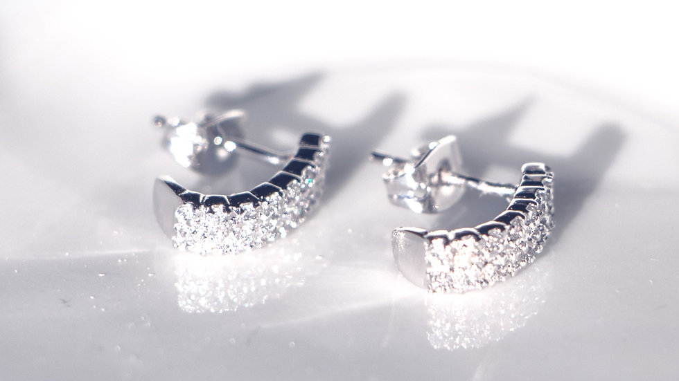 Silver river earrings with cubic zirconiums