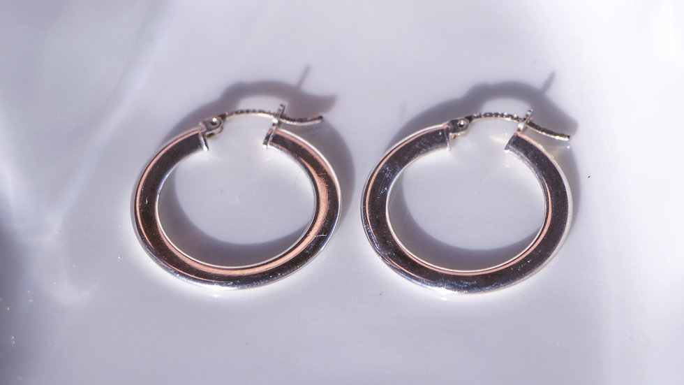 Flat silver hoop earrings