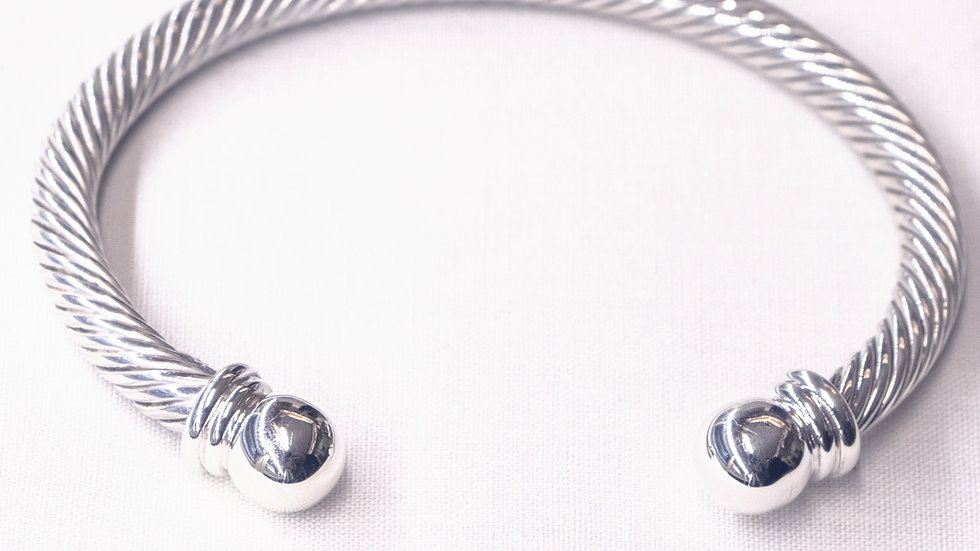Silver Rope Bracelet with round ends