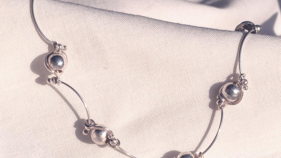 Silver Arcs & Pearl Bracelet
