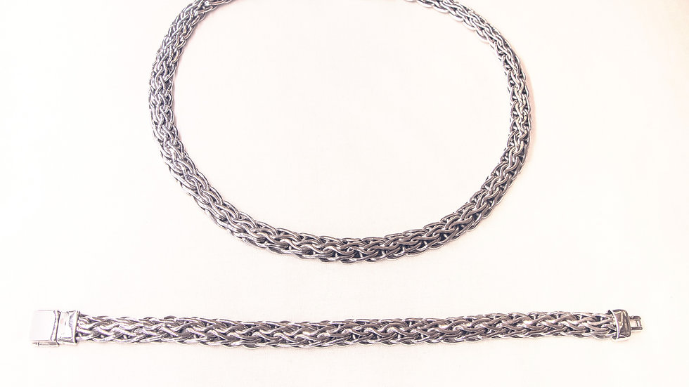 Braided silver choker and bracelet set