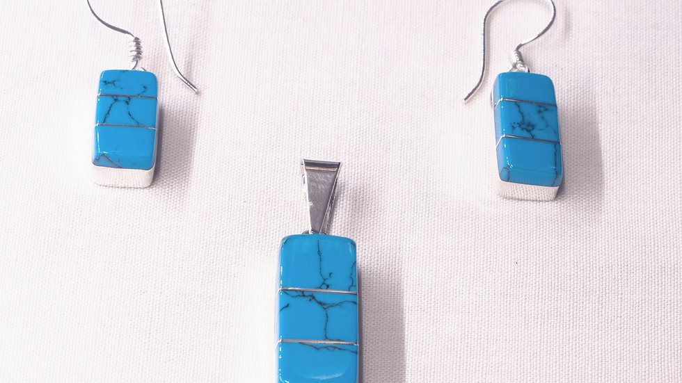 Silver earring and pendant set with blue turquoise stones