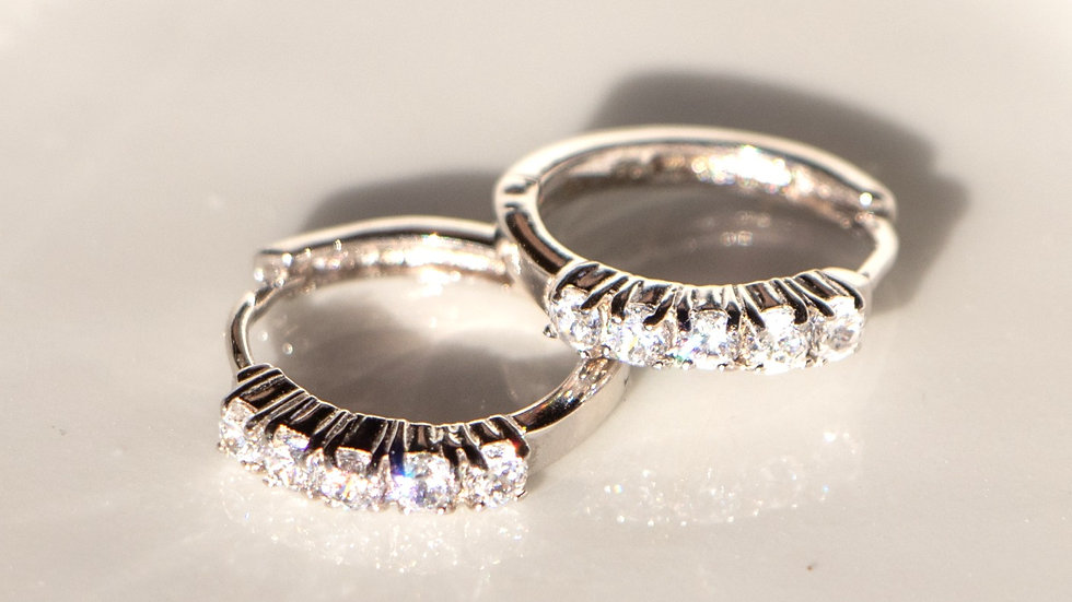 Small Hoops Encrusted with Zircons