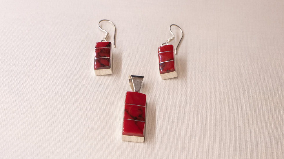 Silver pendant and earrings set with red coral