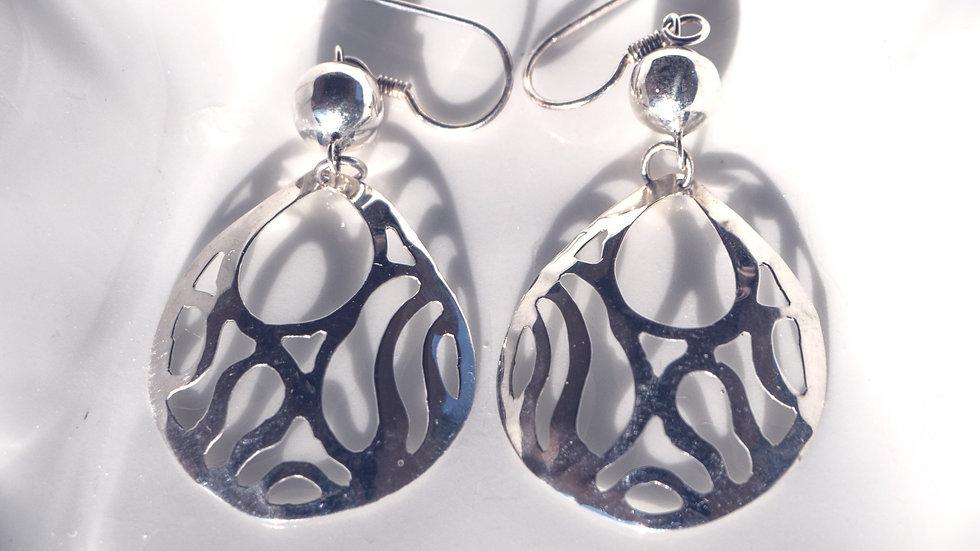 Lacy Silver Pendant Earrings