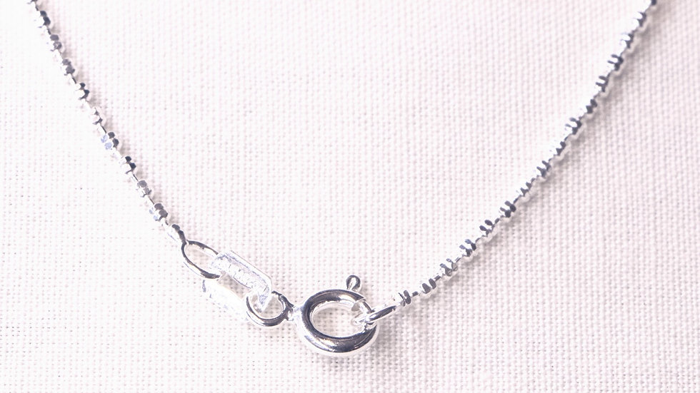 Double-beaded 45 cm long silver chain