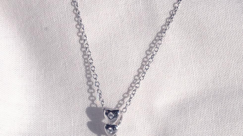 Silver sparkling heart pendant