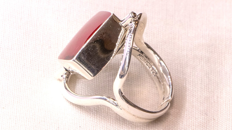 Reversible silver ring with red coral and opal - square