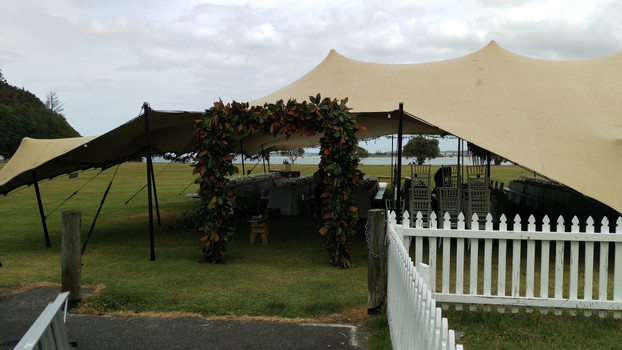 Wedding Tent Entry Magnolia Arch, Briar Rose Flowers, Warkworth.