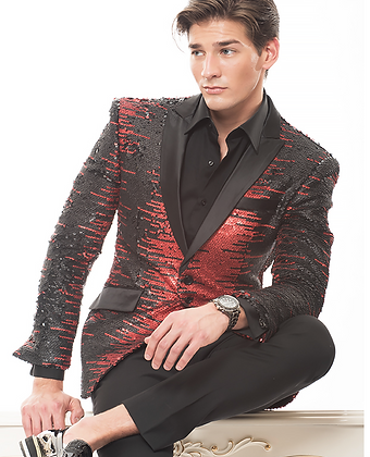 Red Black Sequin Jacket