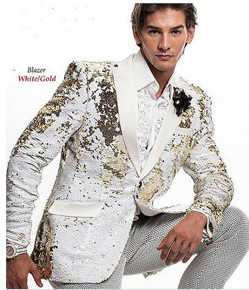 White Gold Sequin Blazer