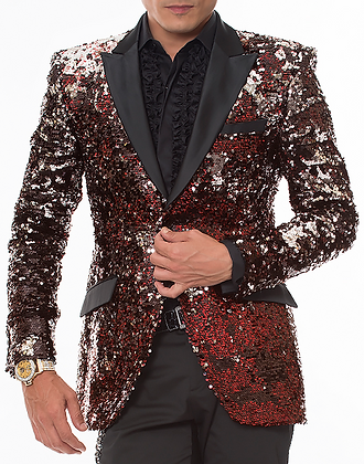 Red Black Silver Sequin Jacket