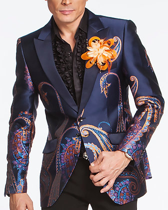 SJ478 Paisley Navy/Orange