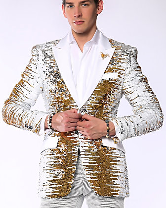 SJ414 Wht/Gold Sequin