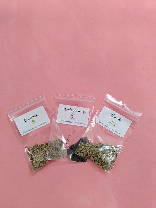 Recharge de graines biologiques : Coriandre, Fenouil, Moutarde rouge