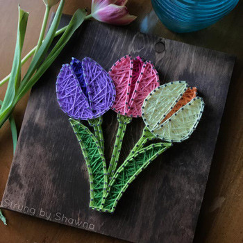 Spring tulip string art