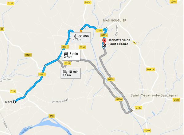 Plan déchèterie St Césaire de Gauzignan