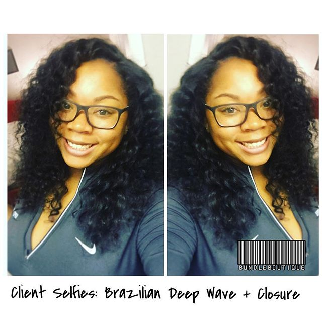 Client Selfies_ Brazilian Deep Wave + Closure 😍 #selfies #selfienation #shamelessselfie #bundlebout