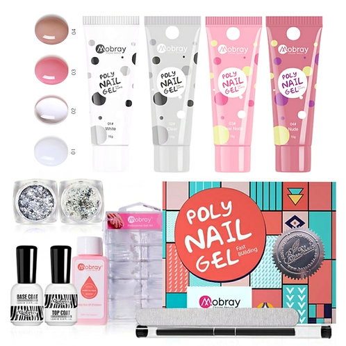 Nail Acrylic Polygel Starter Kit 4 colours, with UV-light