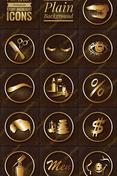 Instagram Story Highlight Icon Set, Golden Theme