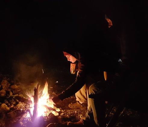 Lagerfeuer nach dem Sportklettern
