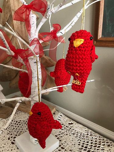 Crocheted Red Bird Ornament
