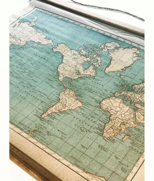 Vintage world map wall hanging interiors uk home this wall hanging is just like a treasure map full of rustic charm unroll it to reveal its retro atlas print this map is perfect for those with a sense of gumiabroncs Image collections