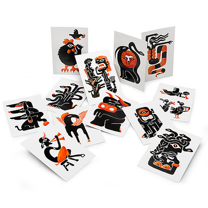 THE GREEK MONSTERS SET OF 12 POSTCARDS