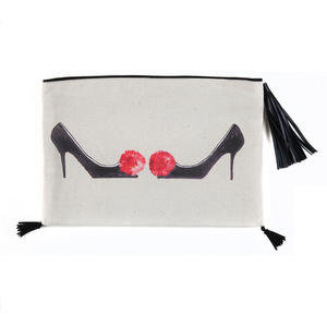 HIGH HEELS TSAROUHI CANVAS CLUTCH