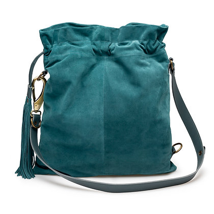 PETROL BLUE SUEDE SHOULDER BAG