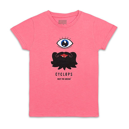 MEET THE GREEKS CYCLOPS PINK KIDS T-SHIRT