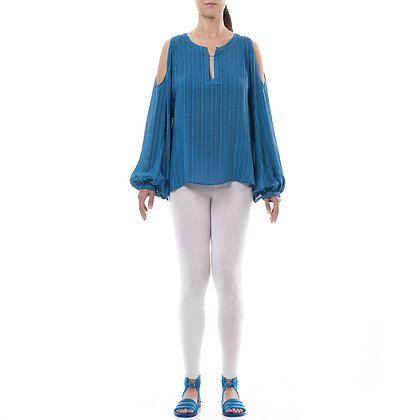 DELOS BLUE SILK BLOUSE