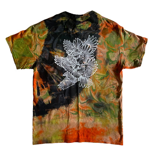 Tie-dyed and Dip died Bird study shirt
