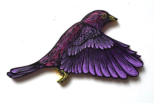 Hand carved painted bird