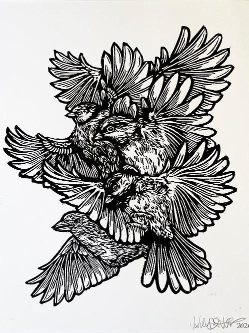Bird Collage silkscreen print