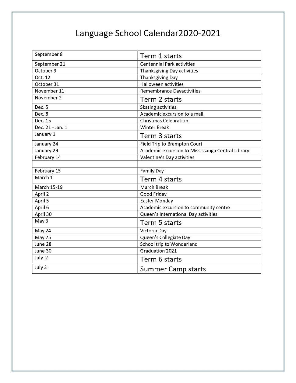 2020 language school calendar - list of