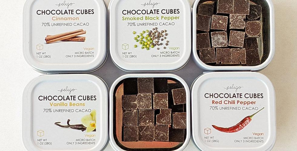 Bean to Cube Unrefined Chocolate - 6 Tins, 6 Unique Flavors!