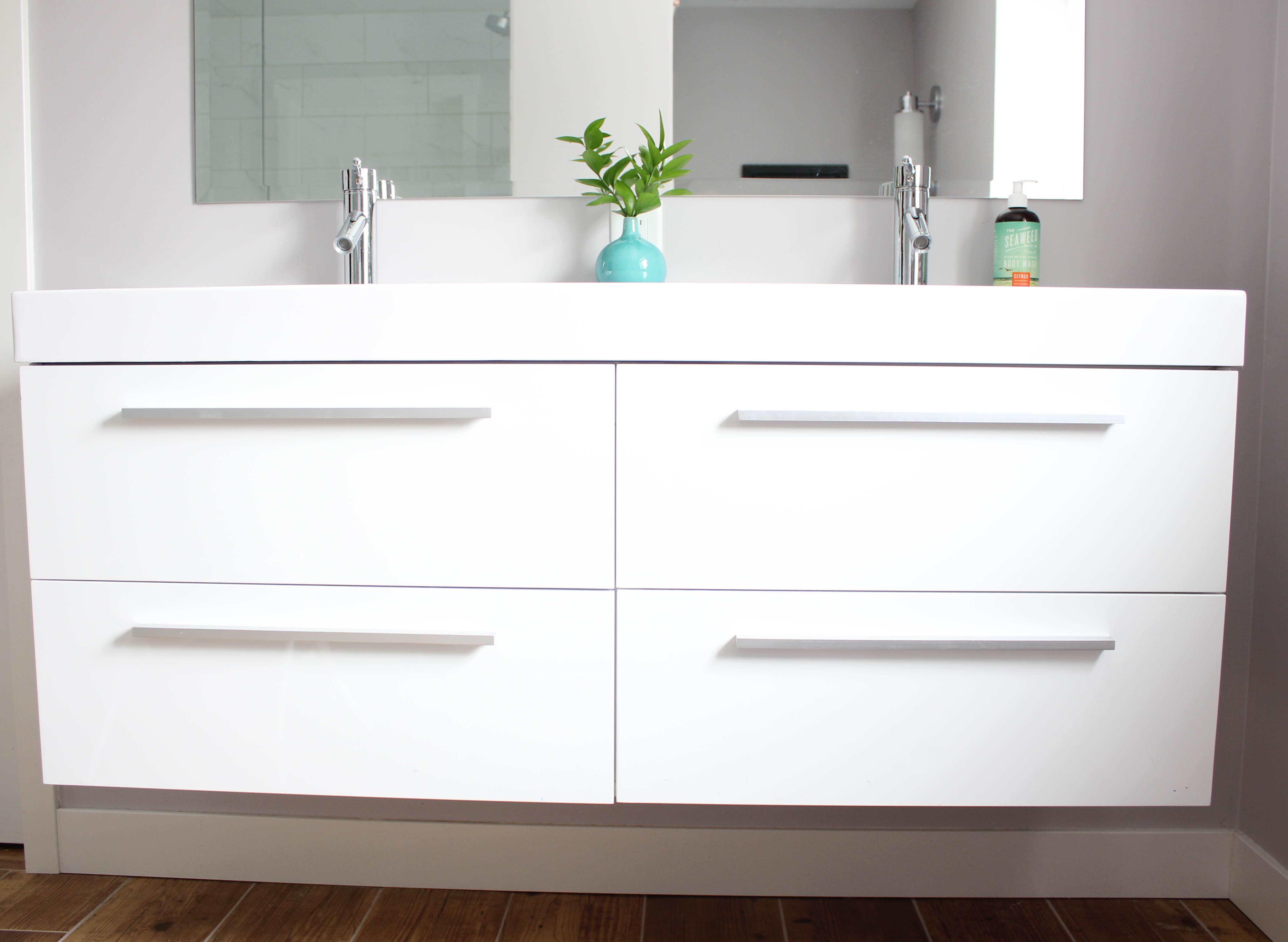Basement Bathroom Remodel - Hanging Vanity